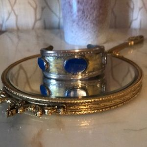 Jewelry - Vintage silver and lapis bracelet / cuff